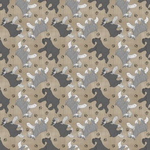 Trotting Miniature Schnauzers and paw prints - faux linen