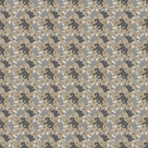 Tiny Trotting Miniature Schnauzers and paw prints - faux linen