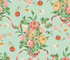 Floral Rococo mint (large scale)