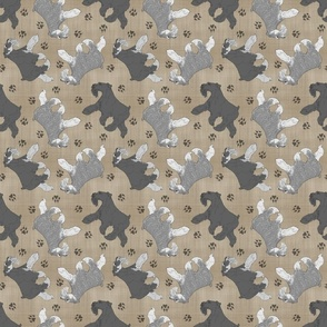 Trotting uncropped Miniature Schnauzers and paw prints - faux linen