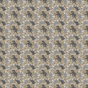 Tiny Trotting uncropped Miniature Schnauzers and paw prints - faux linen
