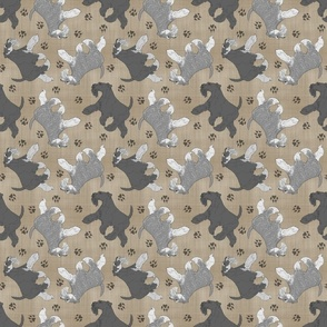 Trotting natural Miniature Schnauzers and paw prints - faux linen