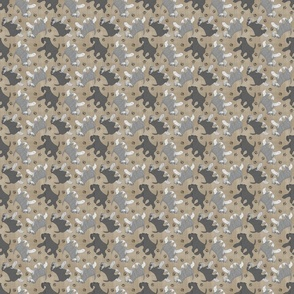 Tiny Trotting natural Miniature Schnauzers and paw prints - faux linen