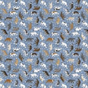 Tiny Trotting Borzoi and paw prints - faux denim