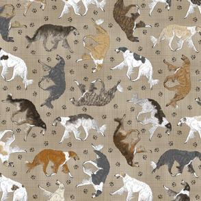 Trotting Borzoi and paw prints - faux linen