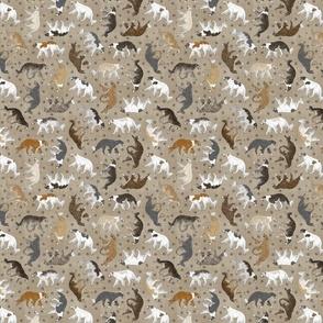 Tiny Trotting Borzoi and paw prints - faux linen