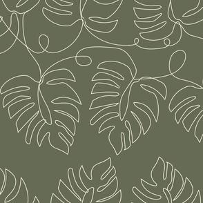 Medium Single Line Monstera Leaves Olive