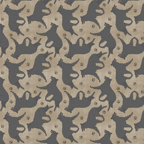 Trotting Belgian Sheepdog and paw prints - faux linen