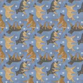 Trotting Belgian Tervuren and paw prints - faux denim