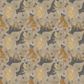 Trotting Belgian Tervuren and paw prints - faux linen