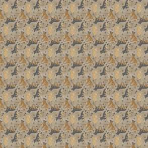 Tiny Trotting Belgian Tervuren and paw prints - faux linen