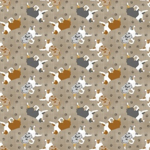 Small Trotting Australian Shepherds and paw prints - faux linen