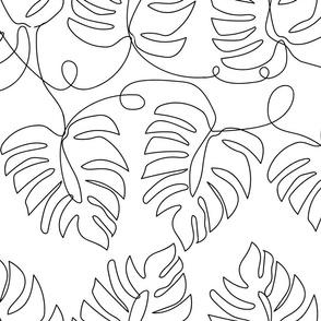 Medium Single Line Monstera Leaves
