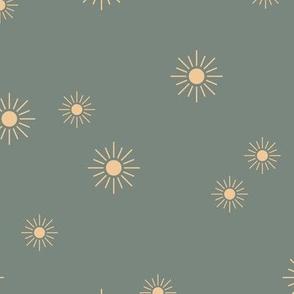 The minimalist sunny day sunshine boho sun sky nursery moody moss green gray yellow