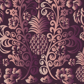 Pineapple Damask cool tones Large Scale