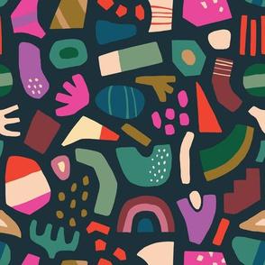 Mosaic Pattern on Dark Green