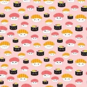 (Tiny) Kawaii Sushi Cuties - Tiny on Pink - Salmon Nigiri, Tuna Nigiri, Maki Roll - Cute & Fun Japanese Food