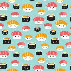 (Mini) Kawaii Sushi Cuties - Mini on Blue - Salmon Nigiri, Tuna Nigiri, Maki Roll - Cute & Fun Japanese Food