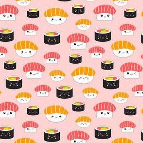 (Mini) Kawaii Sushi Cuties - Mini on Pink - Salmon Nigiri, Tuna Nigiri, Maki Roll - Cute & Fun Japanese Food