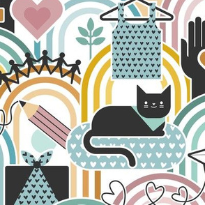 Connected Creative Community- Love to Sew with Cats and Dogs- Cat and Dog at the Sewing Room- Face mask- Medium