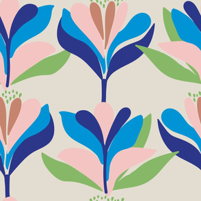 Bold, stylised, Scandinavian inspired floral pattern taupe
