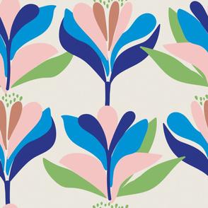 Bold, stylised, Scandinavian inspired floral pattern cream