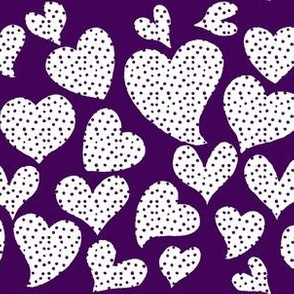 Dottie Hearts // White on Eggplant