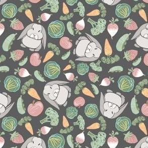 Grumpy Bunny and Veg, Charcoal