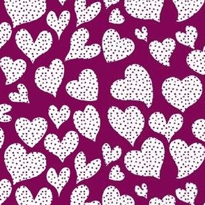 Dottie Hearts // White on Mulberry