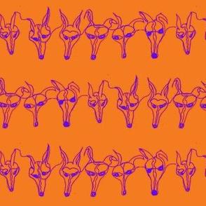 Fox fox fox WHIPPET contour line-Purple on orange-