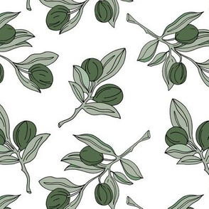 The botanical garden olive branch and leaves boho style spring summer mustard soft green white neutral