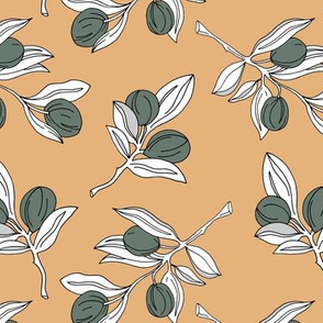 The botanical garden olive branch and leaves boho style spring summer mustard yellow ginger gray white neutral