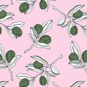The botanical garden olive branch and leaves boho style spring summer pink green white