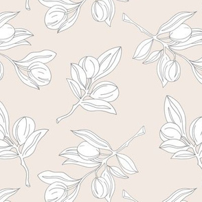 The botanical garden poppy flower  berry branch and leaves boho style spring summer soft beige sand white gray