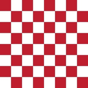"""1"""" checkerboard red and white one inch squares - checkers chess"""