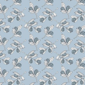 The botanical poppy garden olive branch and leaves boho style spring summer cool blue gray white neutral SMALL
