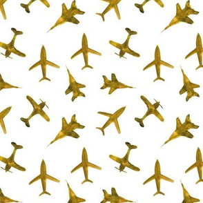 Mustard airplanes - smaller scale - watercolor planes for baby boy