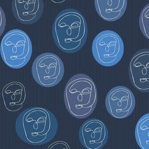 Introspection Blue Contour Faces