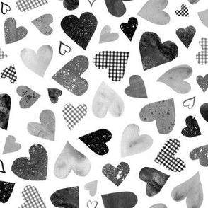 Watercolor Collage Hearts - Black, White, Gray