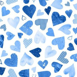 Watercolor Collage Hearts - Blue