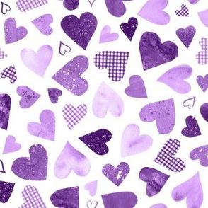 Watercolor Collage Hearts - Purple