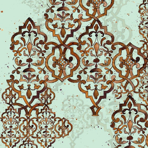 Deconstructed Damask green brown