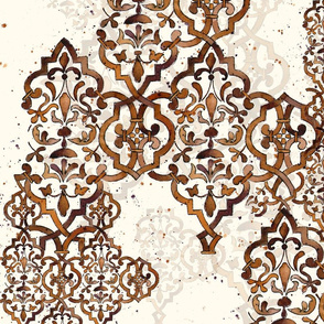 Deconstructed Damask brown white