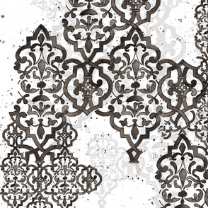 Deconstructed Damask black white