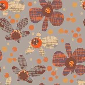Retro Orange Flowers