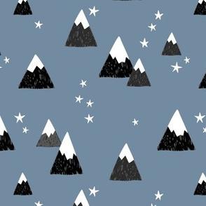Geometric fuji japan mountain stars illustration winter woodland  cool blue gray black