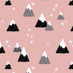 Geometric fuji japan mountain stars illustration winter woodland  coral blush black gray