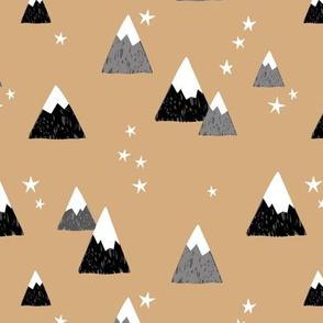 Geometric fuji japan mountain stars illustration winter woodland  ginger camel yellow black gray