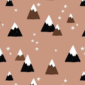 Geometric fuji japan mountain stars illustration winter woodland latte beige brown black gray