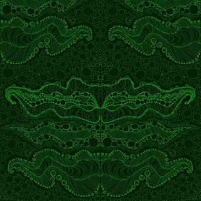 Intricate doodle -sap on deep green-